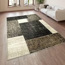 Wohnzimmer Teppich Kurzflor Karo Muster