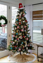 red-white-blue-christmas-tree. Decorated ...