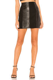 l academie the lynch leather skirt in black