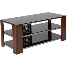 montgomery black tv stand with glass shelves steel accentahogany wood grain finish frame