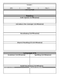 Blank Lesson Plan Templates Mcgraw Hill Wonders Grade 6 Editable Blank Lesson Plan Template By Bonk