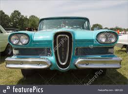 Auto Transport 1958 Blue Edsel Citation Front View Stock Picture