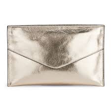 gold leather clutch bag