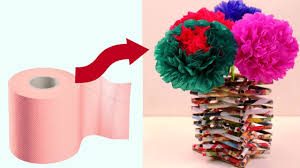 Recycled Flower Paper Diy Flower Vase Made With Recycled Materials Making Tissue Paper Flowers Home Decoration Ideas