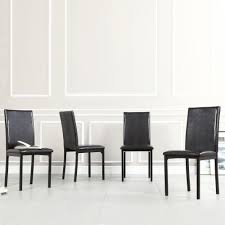 White Leather Kitchen Chairs Homesullivan Bedford Black Faux Leather Dining Chair Set Of 4