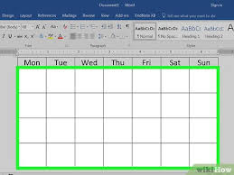 Calendar In Word Document How To Make A Calendar In Word With Pictures Wikihow