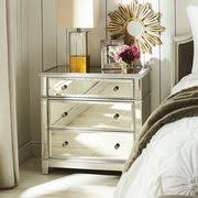 large mirrored nightstand pier. Oversized Hayworth Mirrored Silver 3-Drawer Dresser Large Nightstand Pier