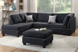 black sectional sofa. Perfect Black Courtney Black Fabric Sectional Sofa And Ottoman With K