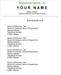 Refference Sheet Reference Sheet Template Resume References Reference Page