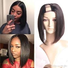 Middle Split Hair Style short bob u part wigs straight cut middle part for black women 3712 by wearticles.com