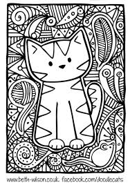 Free Coloring Page Coloring Adult Difficult Cute Cat Cute Cat For A