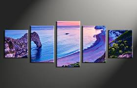 Small Picture 5 Piece Blue Canvas Wall Art Ocean Artwork