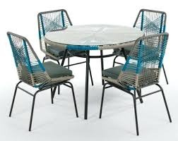 blue outdoor chairs garden dining set round table with four dining chairs in blue and grey