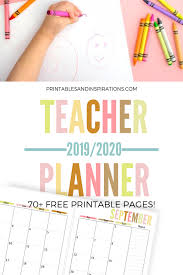 2020 monthly planner template free teacher planner printable 2019 2020 printables and