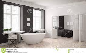 Unbedeutendes Skandinavisches Weißes Und Graues Badezimmer Mit