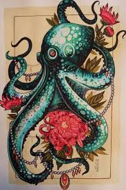 Small Picture Octopus drawing by tattoo artist Mister P art unique animal