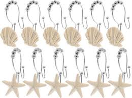 Seashell Design Unbranded 12pcs Seashell Design Shower Curtain Hooks Double Roller