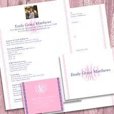Sorority Recruitment Resume Digital Printable Sorority Recruitment Packet With Photo And Resume 24