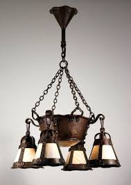sold magnificent antique arts crafts chandelier with slag glass early and light fixtures pendant