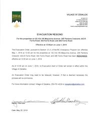 Evacuation Order Rescind – June 1, 2019 ...