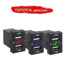 الجهد الإنذار المبكر 3.1A 2 USB واجهة المقبس شاحن محول لتويوتا تيار مستمر  السلطة العاكس محول تهمة آيفون موبايل|Cables, Adapters & Sockets