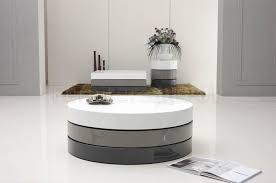 modern round coffee table with swivle