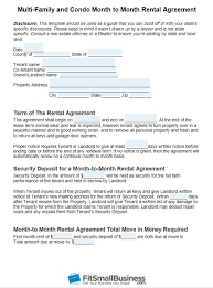 Month To Month Rental Agreement Template Free Month To Month Rental Agreement Template