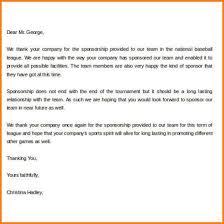 7 Thank You Letter To Sponsors Phoenix Officeaz