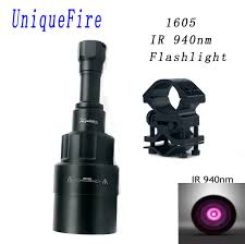 Ir Lights For Night Vision Scopes Us 63 59 Uniquefire 1605 Ir 940nm Led Flashlight 75mm Lens Infrared Light Night Vision Torch Rechargeable With Scope Mount For Hunting In Led
