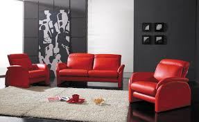 Yellow Black And Red Living Room Interior Decoration Modern Living Room With Black Leather Sofa