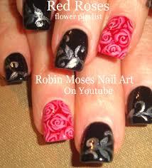 Robin Moses Nail Art: Red Roses on Black Tips!