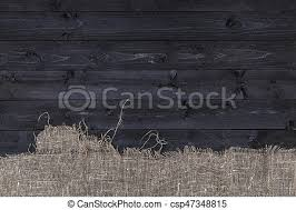 black wood table top. Black Wooden Table With Burlap Tablecloth, Top View, Copy Space - Csp47348815 Wood C