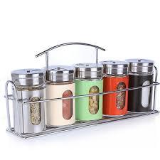 6pcs Set Spice Jar Glass Seasoning Bottle Rotating Bbq Salt Pepper
