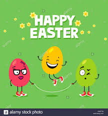 Le uova di pasqua con divertenti espressioni faccia corda da salto. Cartoon  Pasqua biglietto di auguri Foto stock - Alamy