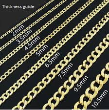 Rope Chain Width Chart Sizing Info Elemental Accents