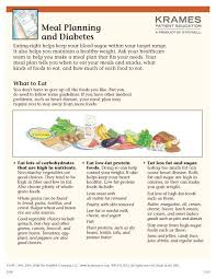 Meal Planning For Diabetes Meal Planning And Diabetes Krames Patient Education