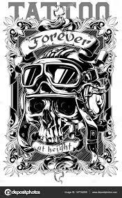 Návrh Plakátu Grafické Tetování Lebky A Textem Stock Vektor