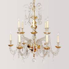 nine light italian gold plated over brass and lead crystal two