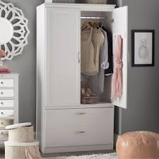 white 71 25 two drawer wardrobe armoire hanging rod home bedroom furniture