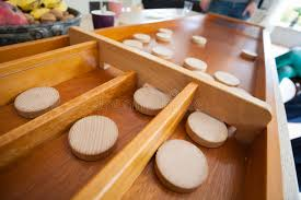 Dutch Game With Wooden Discs A Traditional Dutch Game Called `sjoelen` The Wooden Disks Hove 14