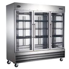 commercial upright freezer in stainless steel glass doors