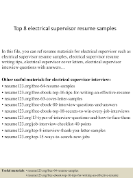 Electrical Supervisor Resume Sample Top224electricalsupervisorresumesamples224conversiongate224thumbnail24jpgcb=1242224556561 15