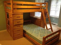 Simple Wooden L Shaped Bunk Bed With Desk And Drawers Plus Shelves,  Gorgeous Wooden Bunk