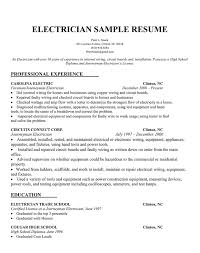 electricians resume samples