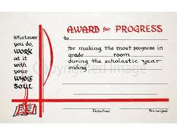 Principal Award Certificate Award Of Progress School Certificate