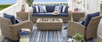 blue and white patio furniture decor