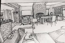 Sat down with a sketchbook and started drawing my living room ...