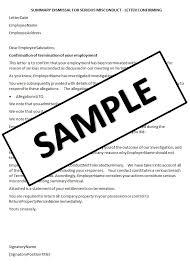 Sample Dismissal Letter Hr Advance Summary Dismissal Letter