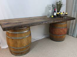 wine barrell furniture. Rustic Wood Top And Wine Barrel Buffet Table. Barrell Furniture E
