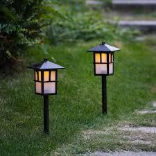 Lantern Pathway Lights Set Of 2 Pagoda Solar Pathway Lights